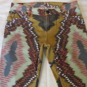 SANCTUARY DENIM Aztec Tribal Boho Multi Color Jean